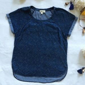 Anthropologie Cloth & Stone Ikat Chambray Top, XS